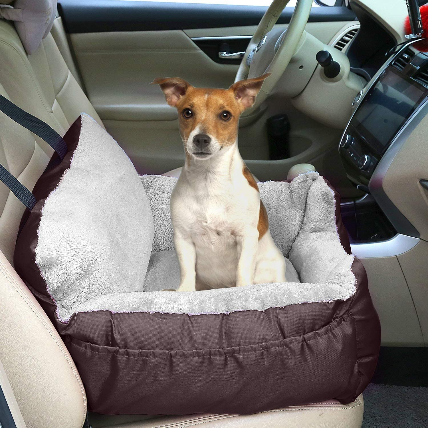Grey Small Pet Comfortable and Anti-Slip Dog Booster Car Seat Travel Carrier with Clip-on Safety Leash and Storage Pocket Dog Seat for Puppy FRISTONE Dog Car Seat
