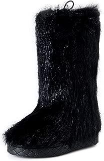 Women's Black Real Fur Winter Boots Shoes US 7 IT 37
