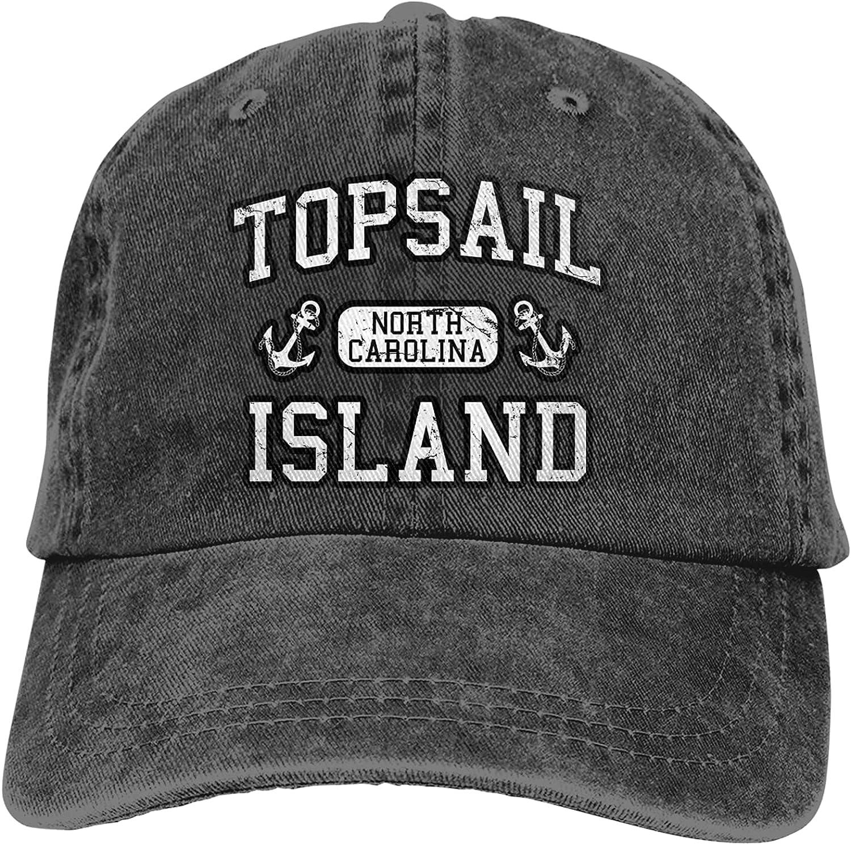 Topsail Island North Carolina Cowboy Hat Classic Baseball Cap Men and Women Outdoor Sun Hat Trucker Dad Hat Black