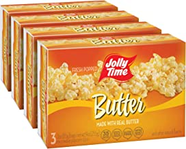JOLLY TIME Real Butter Microwave Bags | Light Buttered Gluten Free Popcorn (3-Count Boxes, Pack of 4)