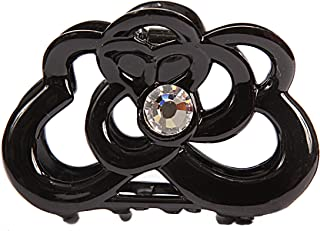 Caravan Hand Decorated Rolling Design Hair Claw with Swarovski Crystal Stones Double Sided, Black.65 Ounce