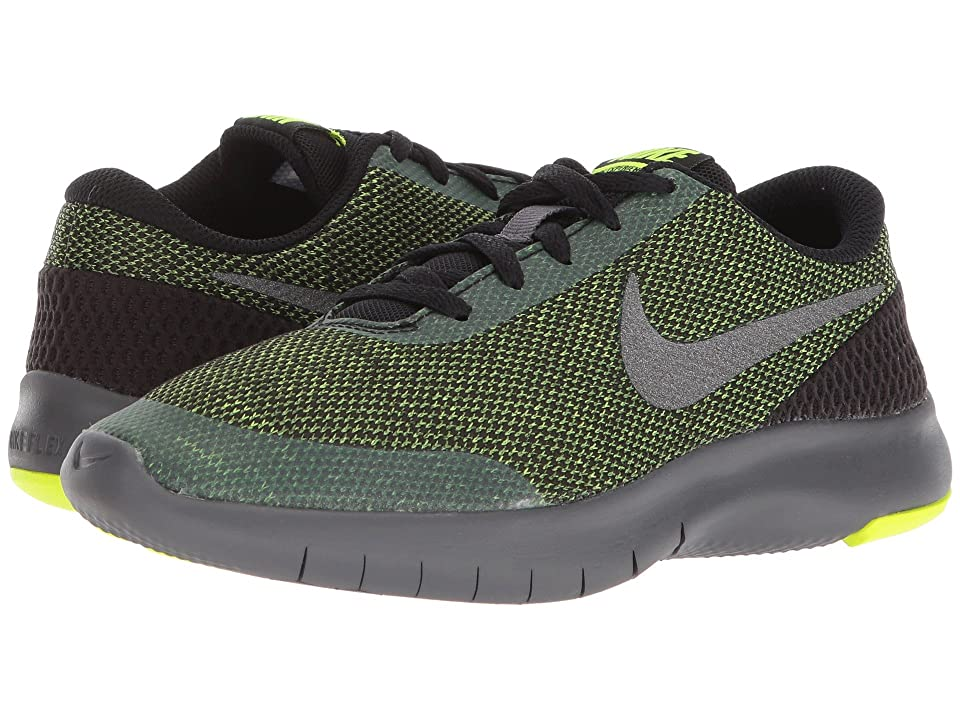 Nike Kids Flex Experience Run 7 (Big Kid) (Black/Metallic Dark Grey/Volt/Dark Grey) Boys Shoes