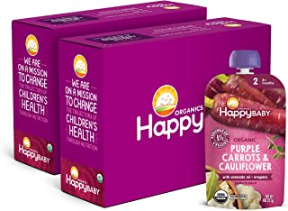 Happy Baby Organics Savory Blends Stage 2 Baby Food, Purple Carrots & Cauliflower with Avocado Oil + Oregano, 4 Ounce (Pac...