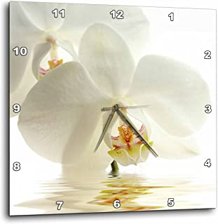 3D Rose White Orchid Flower in Water Reflection Wall Clock, 10