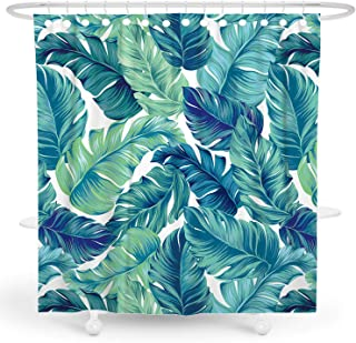 DESIHOM Tropical Shower Curtain Green Plant Shower Curtain Jungle Botanical Shower Curtain Summer Palm Leaf Shower Curtain Banana Leaf Palm Tree Hawaiian Polyester Waterproof Shower Curtain 72x72 Inch