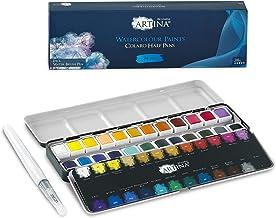 Artina Colaro zestaw farb akwarelowych 24 farby akwarelowe, metalowa skrzynka z zestawem do malowania akwarelowego i pędzl...