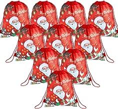 Blulu 10 Pieces Christmas Drawstring Gift Bags Reusable Large Santa Drawstring Backpack for Xmas Party Favors, 1014