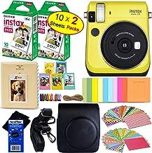 Fujifilm instax Mini 70 Instant Film Camera (Canary Yellow) + Fujifilm instax Mini Instant Film (20 Sheets) + Custom Case + Assorted Frames + Photo Album + 60 Colorful Sticker Frames + HeroFiber