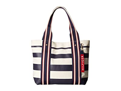 Tommy Hilfiger Classic Tommy Shopper Painted Stripe Tote (Tommy Navy) Tote Handbags