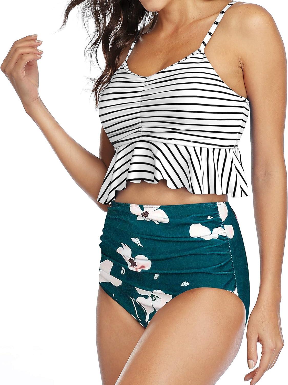 Gabrielle-Aug Womens Two Pieces High Waisted Ruffle Bikini Set Flounce Falbala Swimwear Bathing Suit