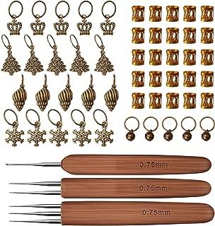 LUTER Crochet Hooks Set 3Pcs/Set(1Hook,2Hook,3Hook) Crochet Needles for Bamboo Dreadlock 0.75mm Crochet Hook with 50 Decorations