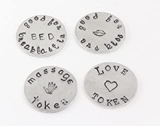 Pocket Token - Custom Love Jewelry Coin - Personalized Handstamped Gift - Good for One Kiss