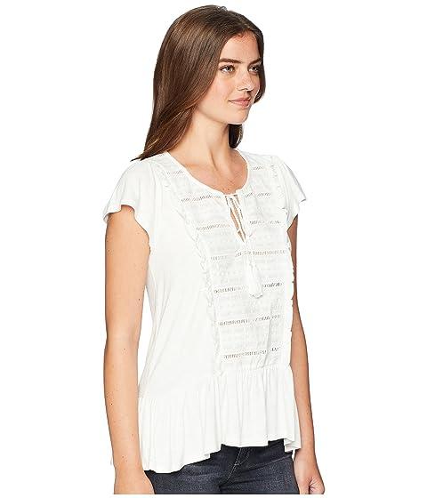 Keyhole Trim de Miss manga camiseta blanca Me Ruffle corta vA4aUq