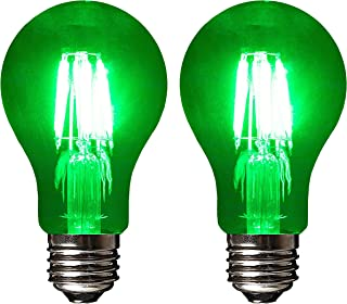 SleekLighting LED 4Watt Filament A19 Green Colored Light Bulbs Dimmable – UL Listed, E26 Base Lightbulb – Energy Saving - Lasts for 25000 Hours - Heavy Duty Glass - 2 Pack