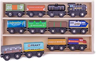 Conductor Carl Playtime Express Train Set | 12-Piece Wooden Train Box | Includes Unique Custom Designs and Classics: Recycling Transport, Timber Train, Wheat Car, Coal Train, Oil Tanker, and More