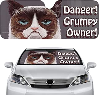 Unique Car Windshield Sun Shade that Keeps You Feeling Cool and Looking Fresh | Grumpy Cat Retractable & Folding Custom Sunshade for Car Blinds with Extra UV Protection. Width51''/Height23''