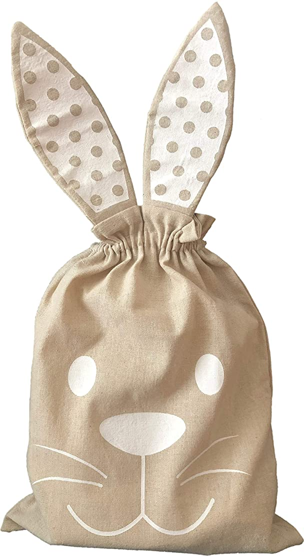 Easter Bunny Sacks - 3 Pack Bunny Ears Easter Bunny Tote - Paint Your Own DIY Bunny Bags - Easter Basket Canvas Bunny Drawstring Totes for Easter Eggs 11.5