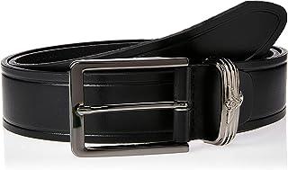 Sponsored Ad – OCTAVE Men's Pin Buckle Eagle Logo On Stripe Leather Belt, Black
