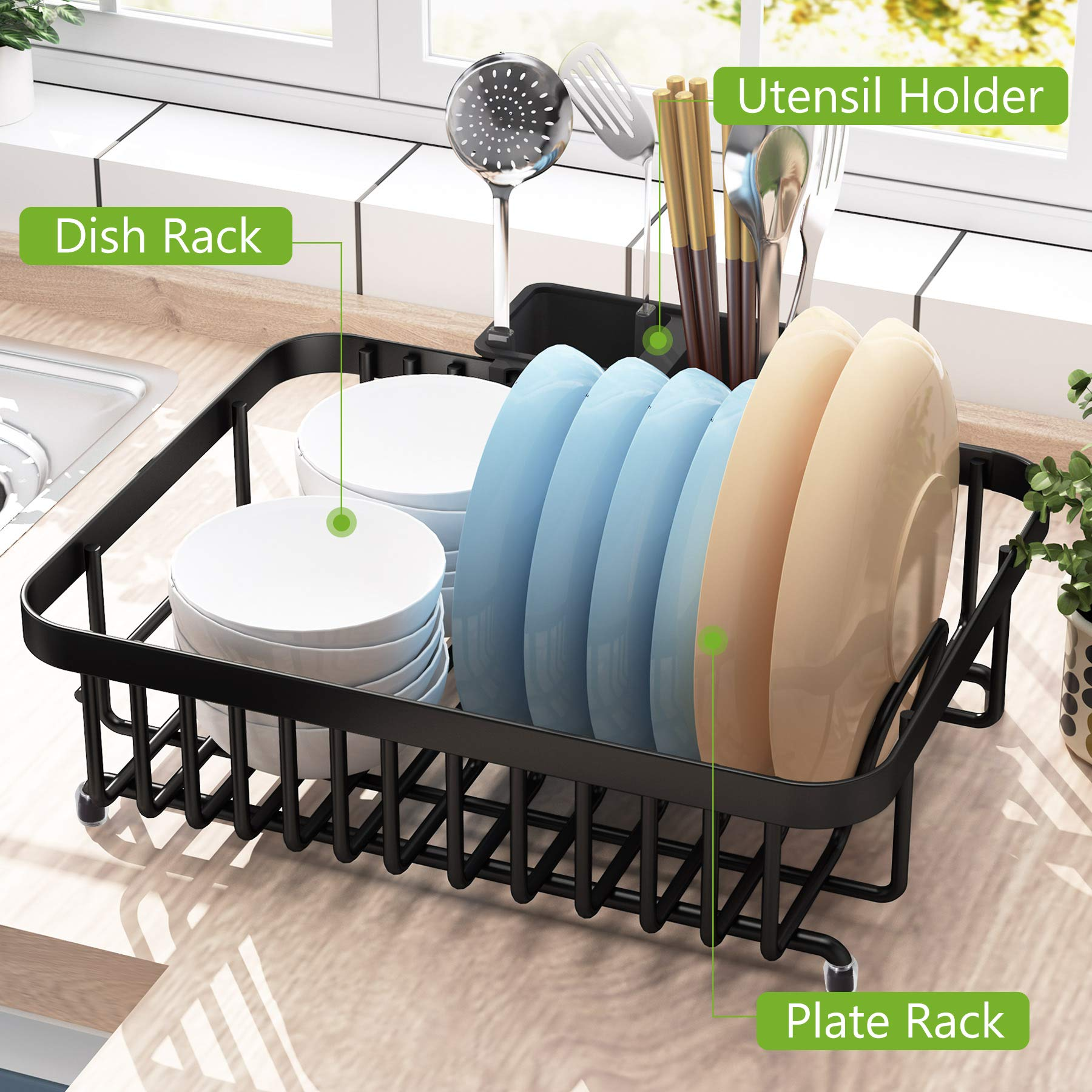 1Easylife Dish Drying Rack with Anti Rust Frame, Small Dish Drainer Rack for Kitchen Counter, Sink Dish Rack on Counter with Utensil Holder and Non-Slip Rubber Feet Rustproof for Organizer Storage