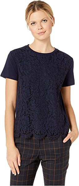 Lace-Front Cotton T-Shirt