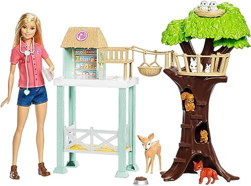 Barbie Métiers Coffret Refuge des Animaux avec poupée blonde, arbre, comptoir, figurines et accessoires de vétérinair...