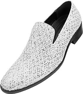 Sarlo Mens Dress Shoes Black Metallic Glitter Tuxedo Slip on Loafers for Men The Original Smoking Men Dress Shoes - Runs Big, Choose 1 Size Down