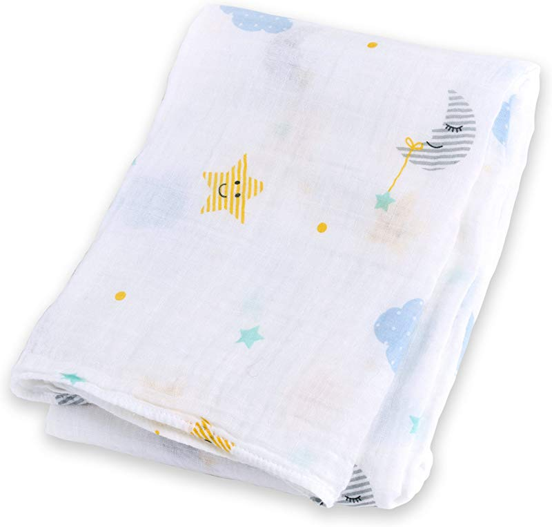 Lulujo Baby Cotton Muslin Swaddle Blanket Dreamland 47 X 47 Inch