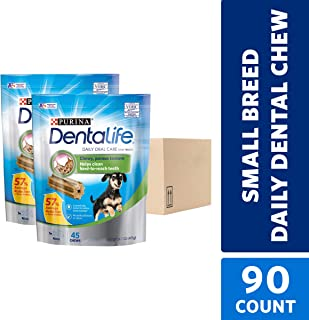 Purina DentaLife Made in USA Facilities Toy Breed Dog Dental Chews, Daily Mini - 45 ct. Pouch