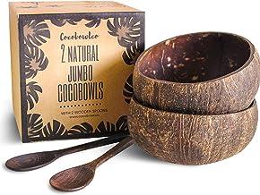 مجموعات كبيرة من أوعية جوز الهند وملعقة خشبية: 2 أواني مطبخ من السلطة العضوية النباتية أو وعاء بوذا (طبيعي)
