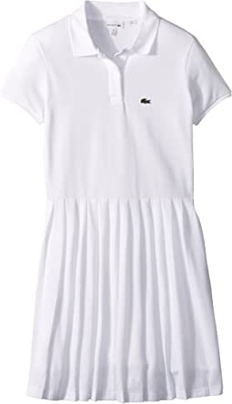 Lacoste Kids - Short Sleeve Petit Pique Pleated Dress (Toddler/Little Kids/Big Kids)