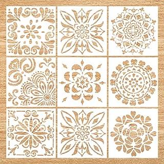 Mandala Stencil Set of 9 (6x6 inch) Painting Stencil, Laser Cut Painting Template for DIY Decor, Painting on Wood, Airbrush, Rocks and Walls Art (Stencil Mandala)