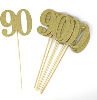 PaperGala Number 90 Set of 8 Double Sided Real Glitter Centerpiece Sticks DIY Reunions, Anniversaries, and Birthdays (Gold)