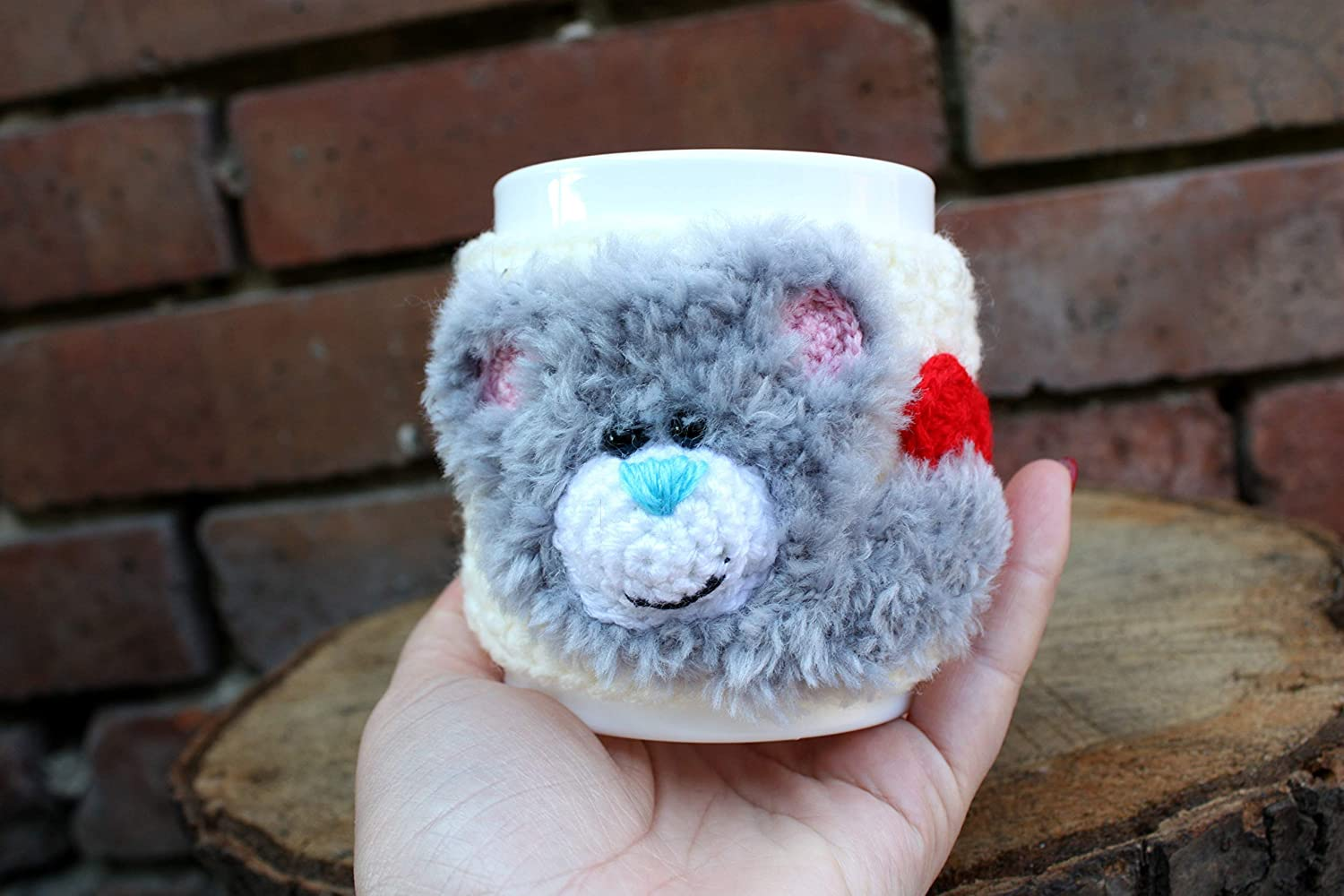 Lowest price Online limited product challenge Bear on the mug Gray bear Crochet cup m cover cosy sweet