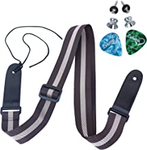 LOHANU Ukulele Strap + 2 Buttons + 2 Picks + Brown & Black + 2 Strap Pins Not Just 1 Peg Helps You Hold Easily + Simple Adjustable Length + Comfortable on Neck + Easy Install Manual +Sop Concert Tenor