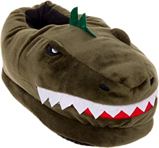 Silver Lilly Dinosaur Slippers - Plush T-Rex Slippers w/Memory Foam Support