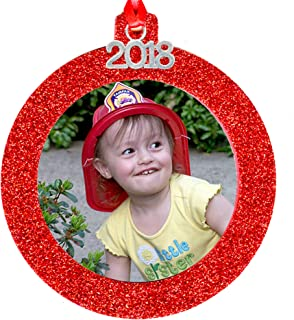 2018 Magnetic Glitter Christmas Photo Frame Ornament with Non Glare Photo Protector, Round - Red