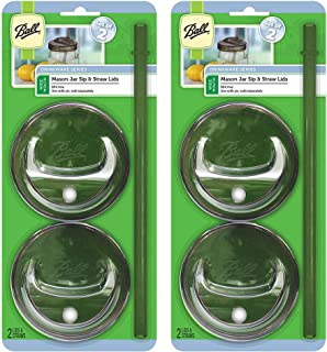 Ball 8-Piece Sip & Straw Lids Set for Wide Mouth Mason Jars | Grey | (4-Lids and 4-Straws)