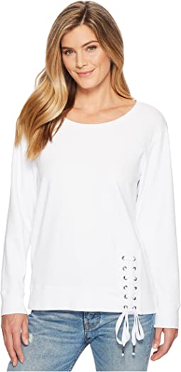 Mod-o-doc Soft As Cashmere Cotton Interlock Sweatshirt w/ Asymmetrical Lace-Up