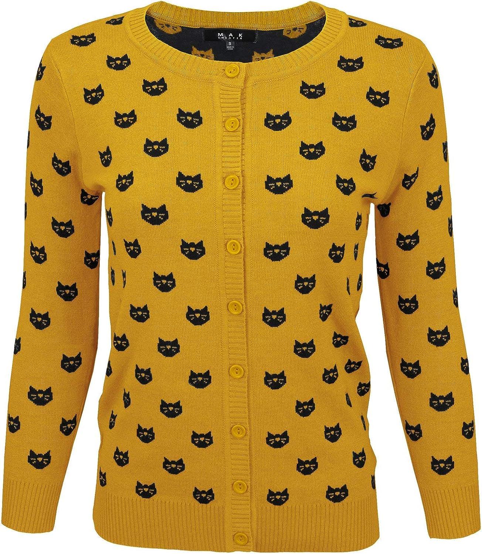 YEMAK Women's Cute Cat Patterned 3 4 Sleeve Button Down Stylish Cardigan Sweater MK3466