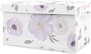 Sweet Jojo Designs Purple Watercolor Floral Girl Small Fabric Toy Bin Storage Box Chest for Baby Nursery or Kids Room - La...