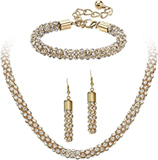 White Simulated Crystal Gold Tone Rope Necklace, Bracelet and Drop Earrings Set 18
