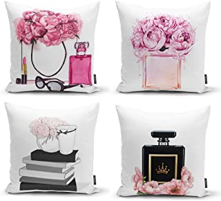 Ysahome Pink Flowers Digital Print Pillow Cover – Queen Perfume Cushion Cover..