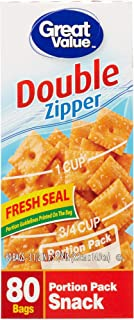 Great Value Double Zipper Portion Pack Snack Bags, 80 Count