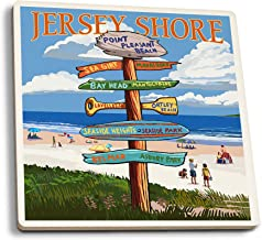 Lantern Press Point Pleasant Beach, New Jersey - Destinations Sign (Set of 4 Ceramic Coasters - Cork-Backed, Absorbent)