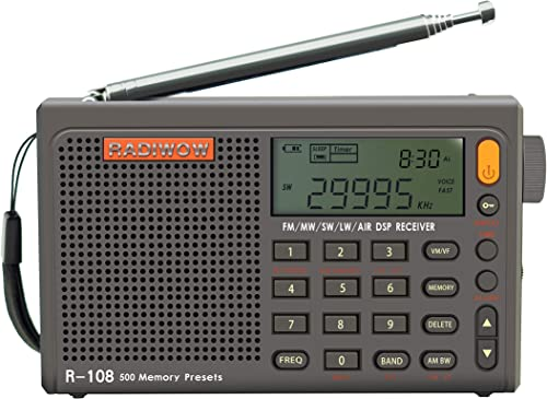 RADIWOW R-108 Radio Digital Portable Radio FM Stereo LW/SW/MW/AIR/DSP Receiver with LCD Sound for Indoor&Outdoor Acti...