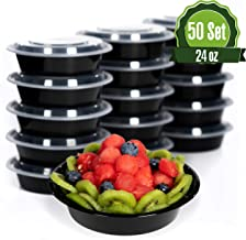 Safeware Meal Prep Round Containers with Lids-24oz [50 Set] Ideal-Lunch Containers, Food Prep, Food Storage Bento Box, Portion Control | Stackable | Microwave | Dishwasher | Freezer | Reusable