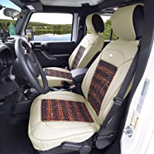 FH Group Beige PU203BEIGE102 Premium Leather Cushion Pad Seat Covers Color w. Cooling Rosewood Beads-Fit Most Car, Truck, SUV, or Van