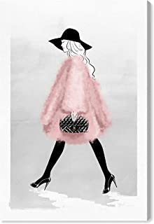 The Oliver Gal Artist Co. Glam Wall Art Canvas Prints 'Fashion Strut' Home Décor, 10 x 15, Pink