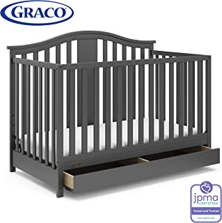 Graco Solano 4-in-1 Convertible Crib with Drawer, Easily Converts to Toddler Bed Day Bed or Full Bed, Three Position Adjustable Height Mattress, Assembly Required (Mattress Not Included), Gray