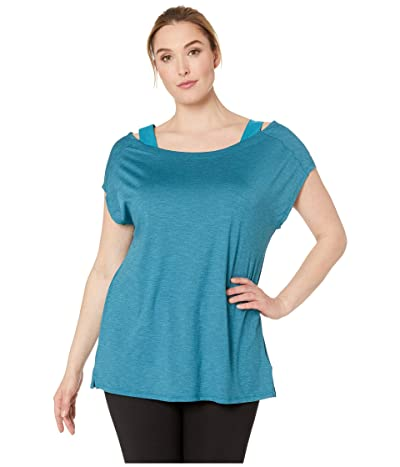 Columbia Plus Size Place To Placetm Short Sleeve Shirt (Siberia Heather) Women
